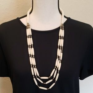Candie's layered ivory/silver beaded necklace
